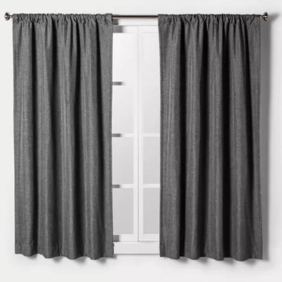 Heathered Gray Light Filtering Curtain Panels NEW